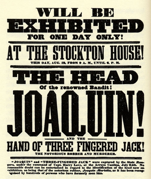 Joaquin Murieta and Three Fingered Jack wanted poster