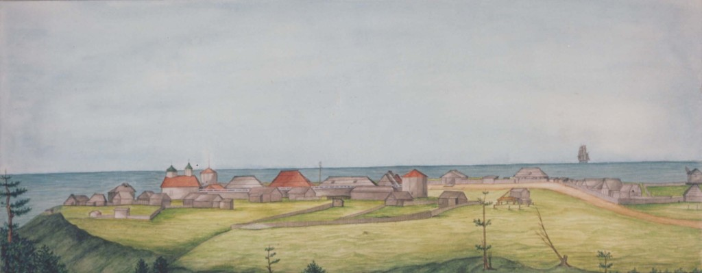 Watercolour of Fort Ross by I.G. Voznesenskii (1841) Source: Peter the Great Museum of Anthropology and Ethnography, St.Petersburg