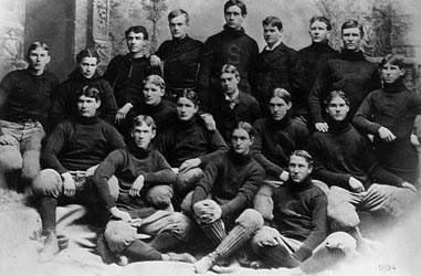 Stanford's 1891-2 football team; manager Herbert Hoover is third from the right in the last row.