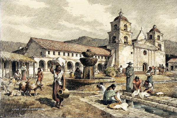 Santa Barbara Mission by Lloyd Harting (1901 - 1974)