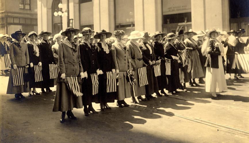 Women's suffrage march in California. Courtesy The California Museum