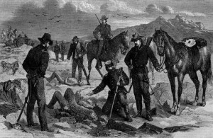 Soldiers recovering the bodies of the slain May 3, 1873 published in Harper's Illustrated Weekly