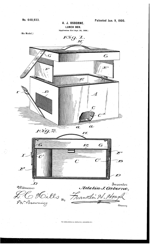 Amelia J. Osborne lunch box patent 1890.