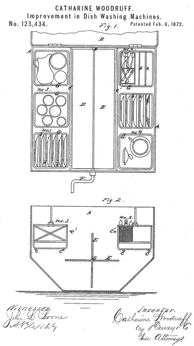 Catherine Woodruff patented an improved dish washing machine