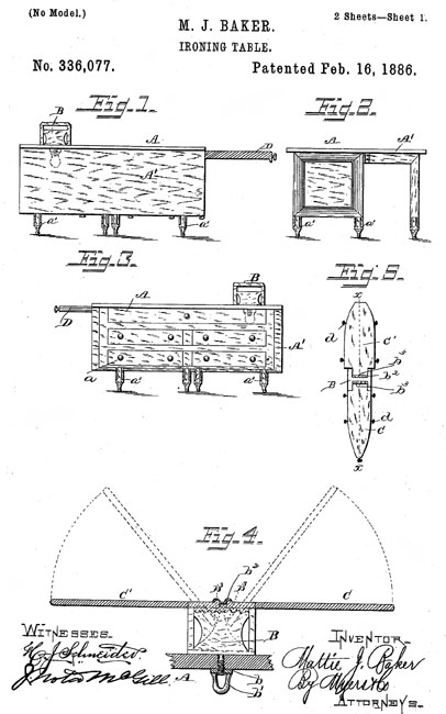 Mattie J. Baker patent drawing for an improved ironing table