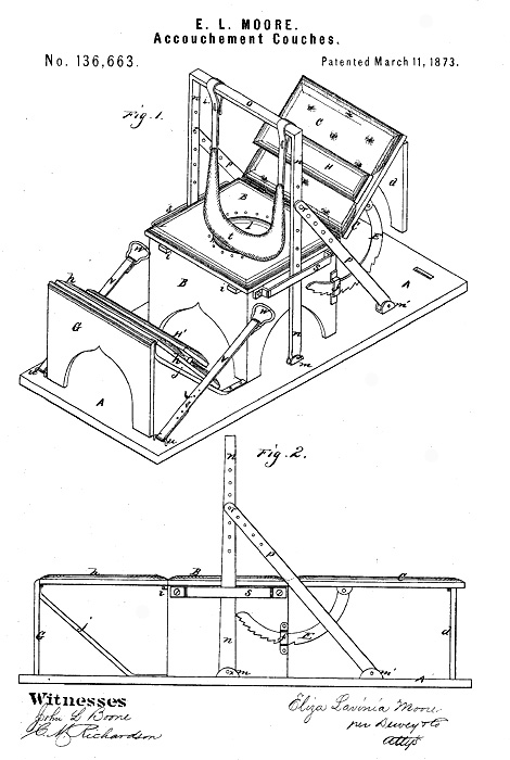 Eliza Moore patent for an accouchment couch (1873).