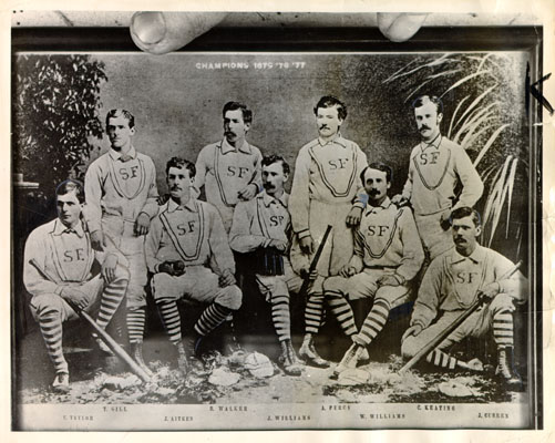 Team photo of unknown San Francisco baseball team, circa 1875
