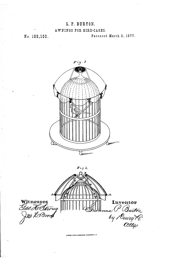 Susannah Burton of San Francisco patented bird cage awnings