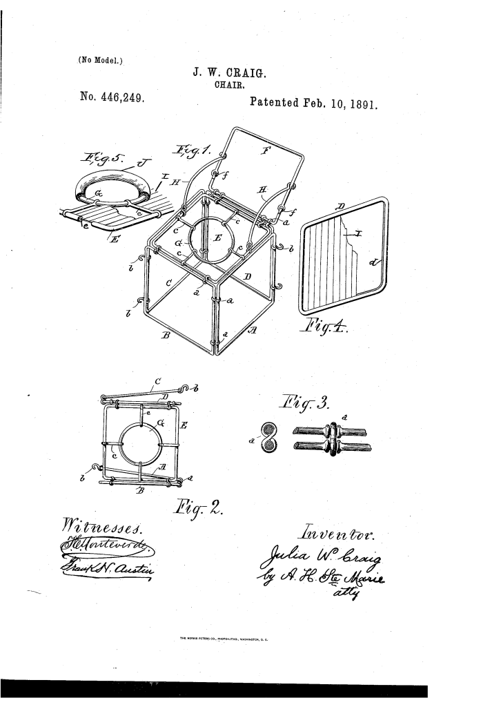 Julia Craig patent drawing 1891