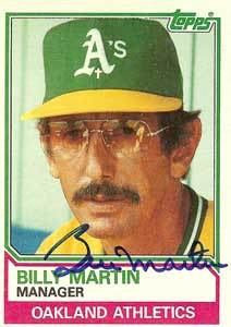 Billy Martin baseball card