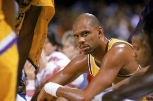 1987: Kareem Abdul-Jabbar #33 of the Los Angeles Lakers sits on the bench during an NBA game at the Great Western Forum in Los Angeles.