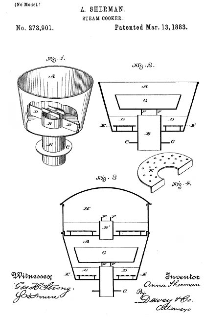 Anna Sherman, of Alameda, patented steam cooker (1883).