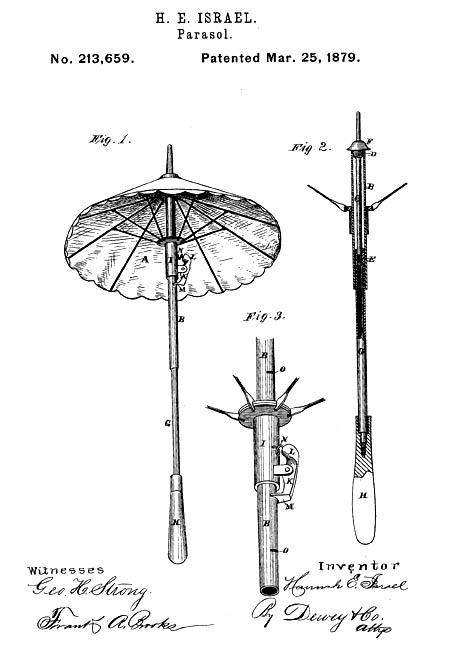 Hanna Israel patented a collapsible parasol (1879).