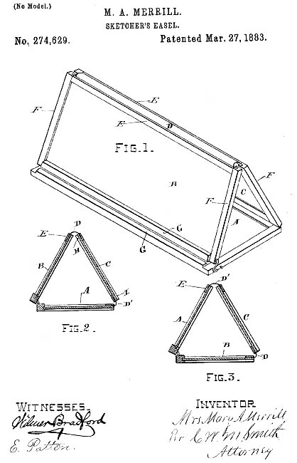 Mary Merrill patented a portable artist easel (1883).