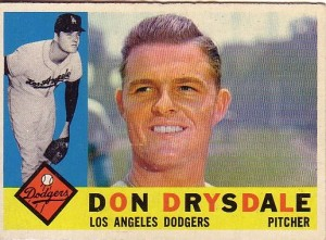 Don Drysdale. Topps baseball card (1960).
