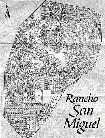 Modern map of San Francisco neighborhoods within historic Rancho San Miguel.