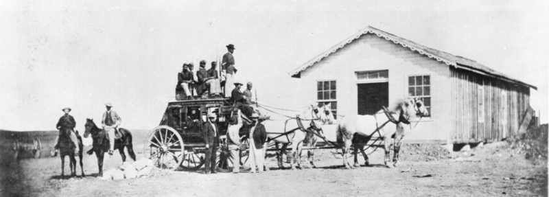 Concord stagecoach being guarded by Buffalo Soldiers (1869)