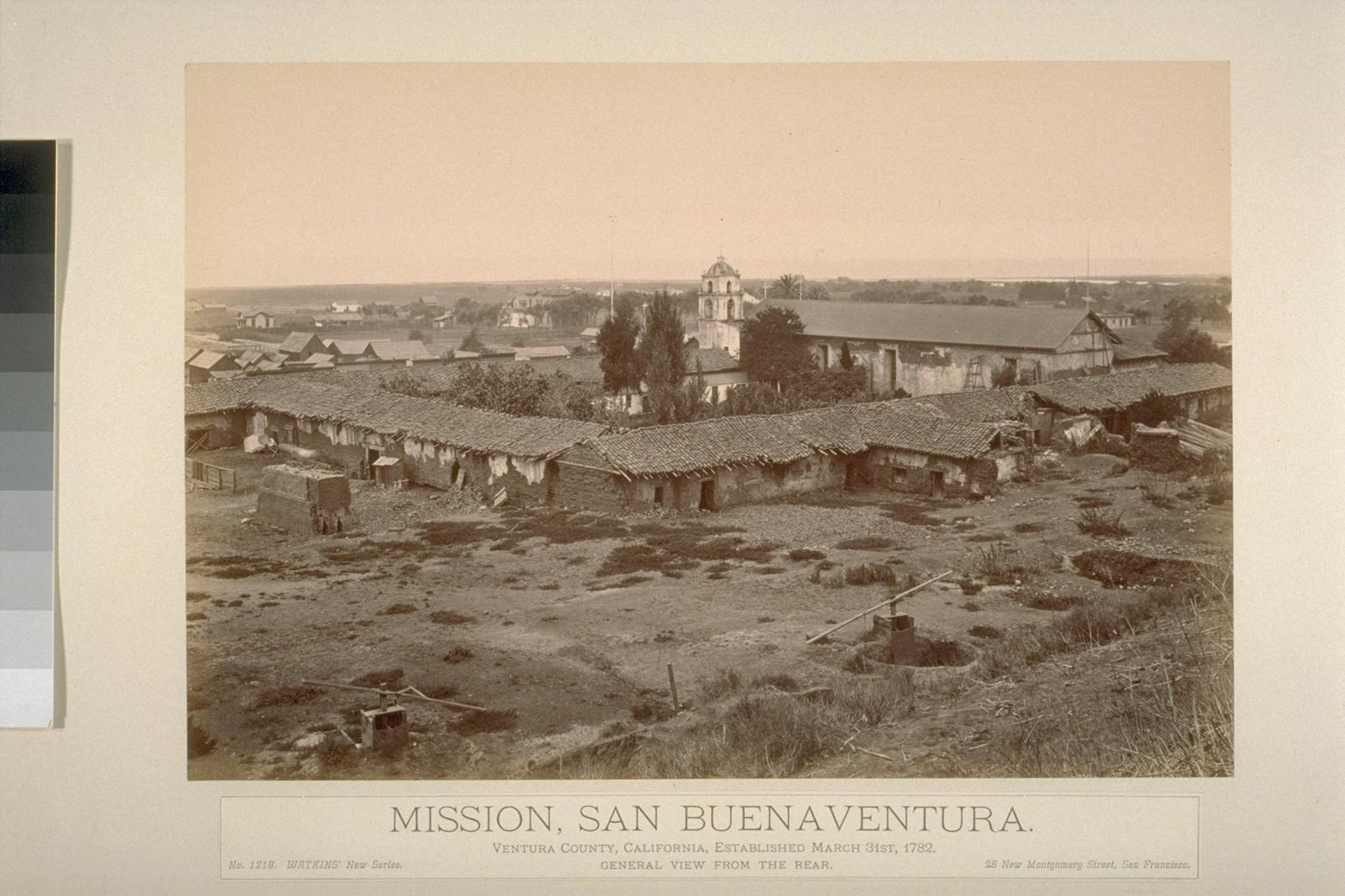 Mission San Buenaventura (rear view) by Carleton Watkins.