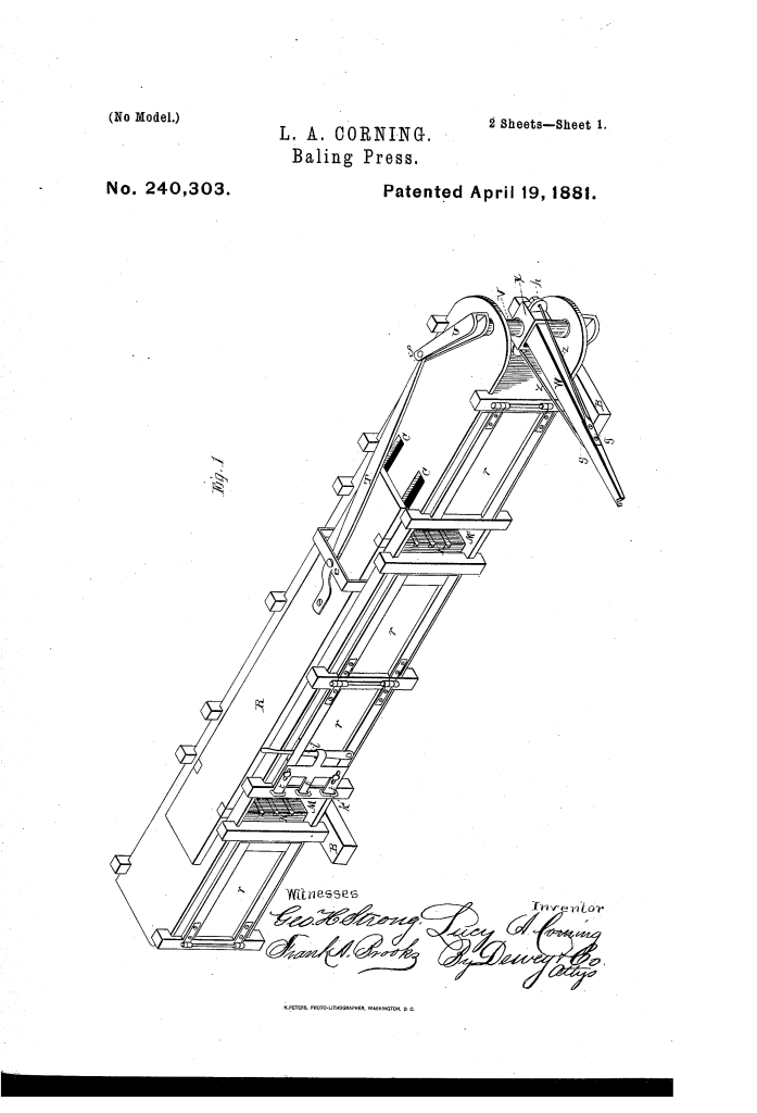 Lucy Corning, of San Jose, patented a hay baling press.