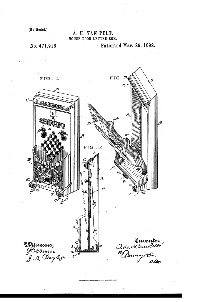 Ada Van Pelt patented a house letter box (1892).