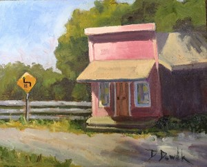 Nicasio post office. Oil on canvas by Debbie Dowdle.