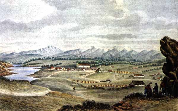 A watercolor by William Smyth during the winter of 1826-1827 shows a small number of scattered adobes without any formal property lines, fences, or streets. Courtesy of Monterey County Museum.