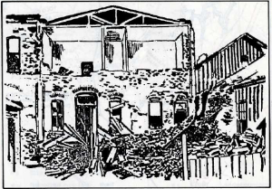 Clarke's Restaurant on Main Street, Winters; rear view. April 1892. Source: Vacaville-Winters Earthquakes...1892.