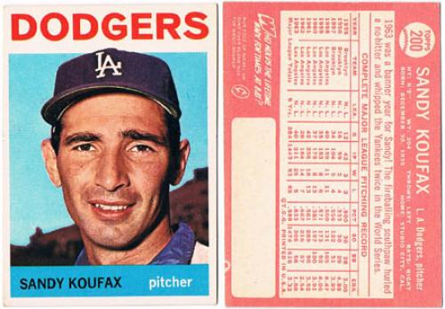 Sandy Koufax. Topps Baseball Card (1964).