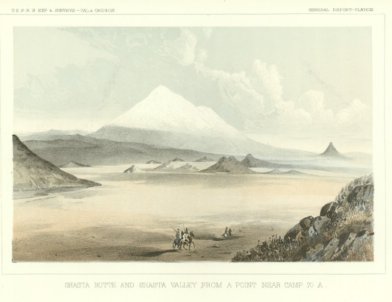 Drawing of Shasta Butte and Shasta Valley by John J. Young (1858).