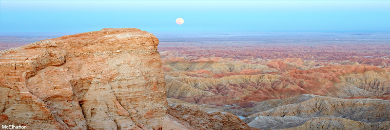 Full moon rising over Fonts Point and the Borrego Badlands.