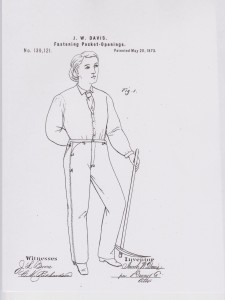 J.W. Davis patent for fastening pocket-openings (1873).