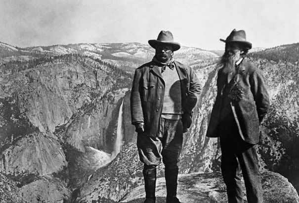 Theodore Roosevelt with John Muir at Yosemite (1906). Courtesy Library of Congress.