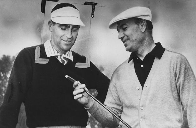 Ben Hogan (right) admiring a new putter that belongs to U.S. Open Champion Jack Fleck.