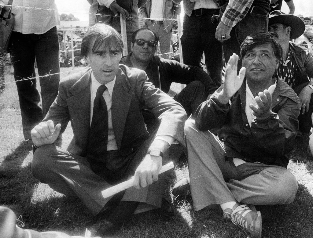 California Governor Jerry Brown and UFW president Cesar Chavez participate in a UFW rally in Salinas on August 11, 1979. Courtesy Monterey County Herald.