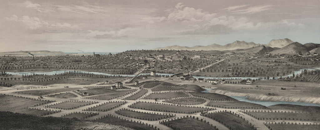 Los Angeles drawn originally by E.S. Glover (1877).
