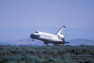 Space Shuttle Columbia landing at Edwards AFB (1982).