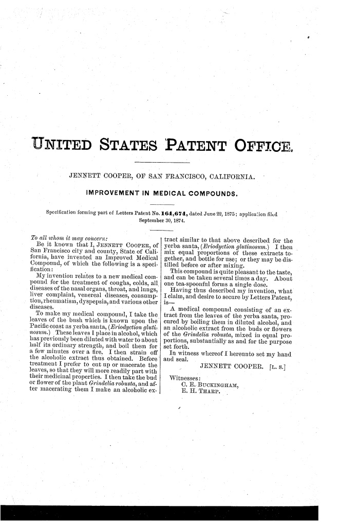 Jennett Cooper patented an improvement in medical compounds (1875).