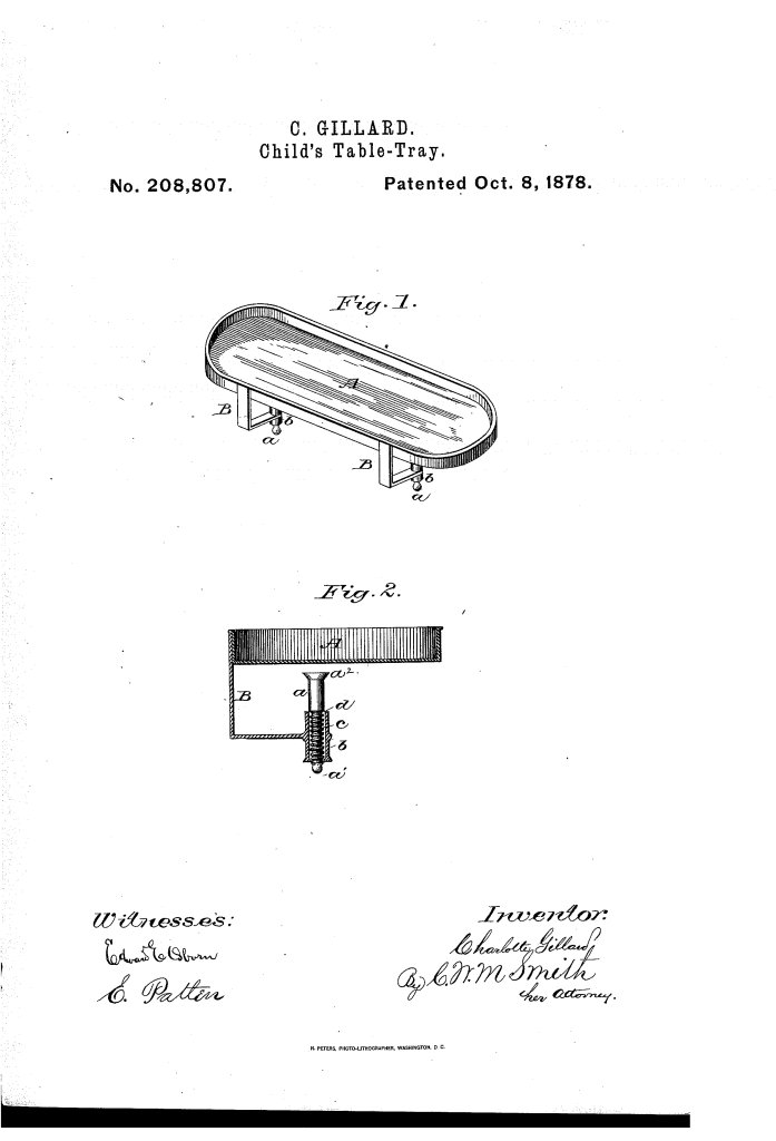 Charlotte Gillard of San Francisco patented a child's table tray (1877).