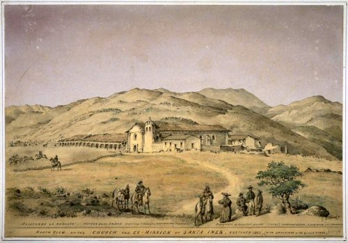 Mission Santa Ines by Edward Vischer (1865).