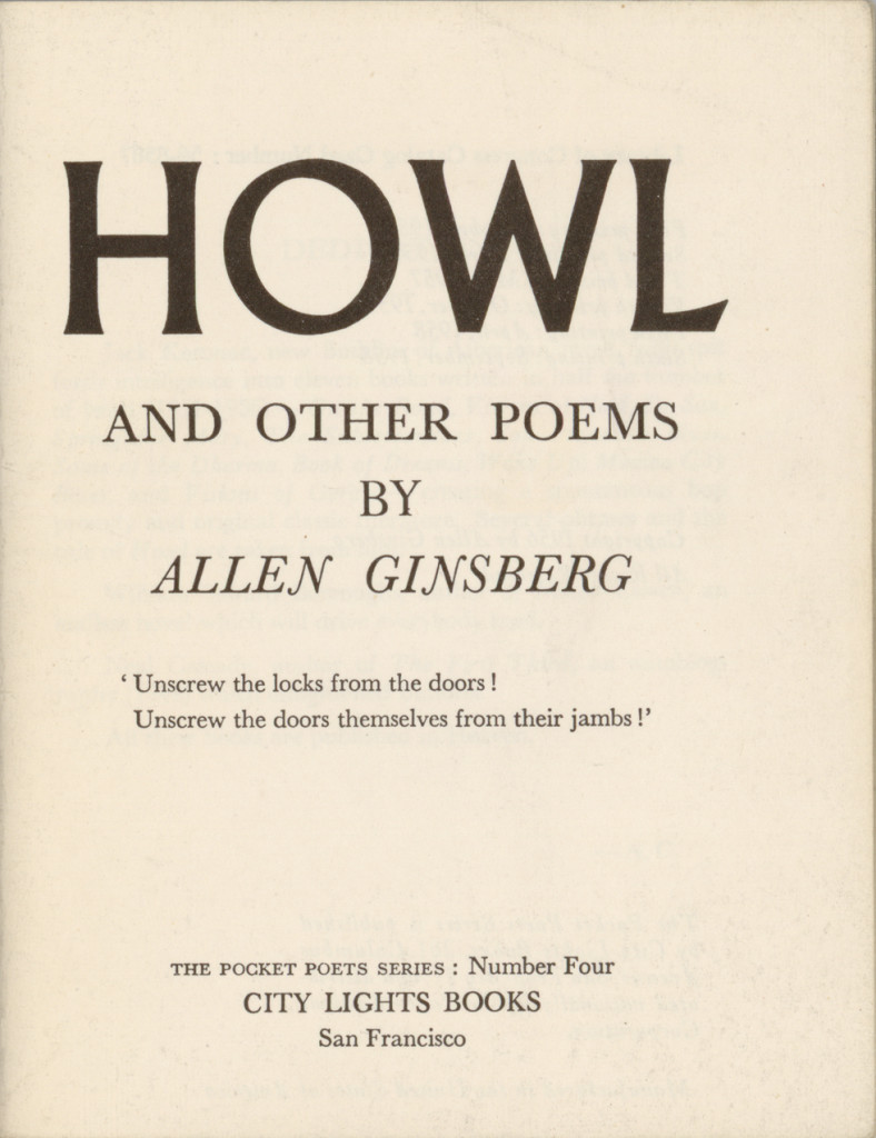 Allen Ginsberg, Howl and other poems (1956).