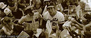 John Montefusco after pitching a no-hitter, courtesy San Francisco Giants archive (1976).