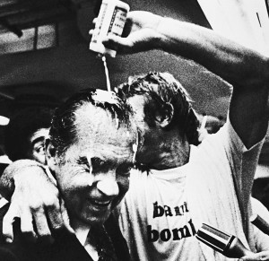 Bobby Grich celebrates their pennant victory by pouring beer on former President Richard Nixon (1979).