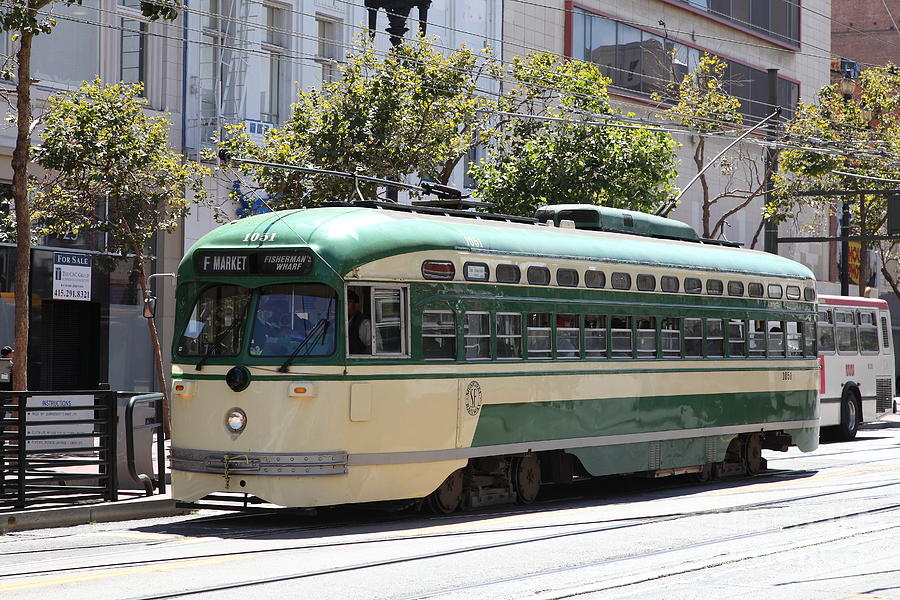 Vintage streetcar on Market Street, San Francisco.
