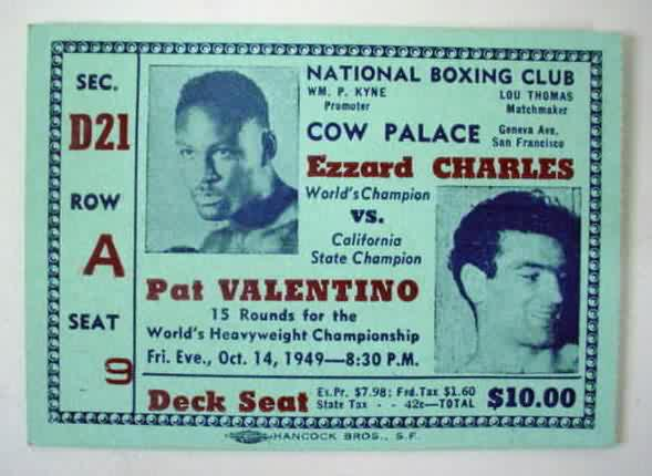 Ezzard vs Valentino ticket (1949).
