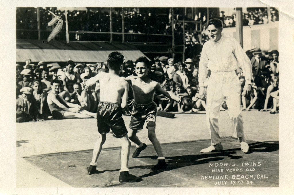Morris twins boxing at Neptune Beach, Alameda (1924).