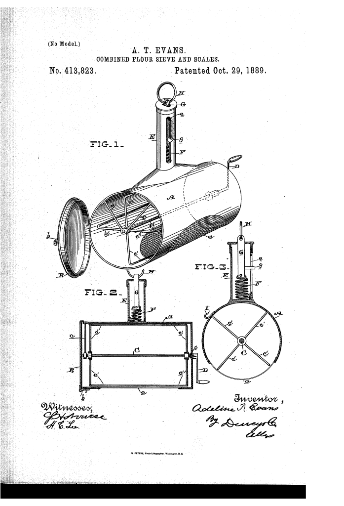 Adeline Evans patented combined flour sieve and scale (1889).