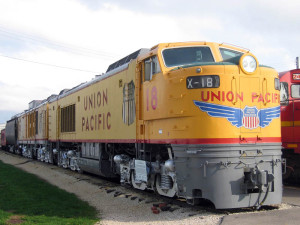"UP 18, a third generation GTEL with four three axle ""C"" trucks, preserved at the Illinois Railway Museum."