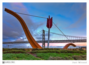 Cupid's Span by Claes Oldenburg and Coosje van Bruggen (2002). Photograph by James Fike.