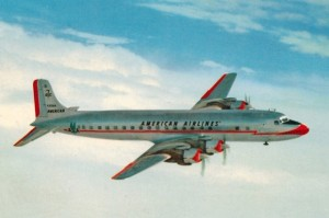 American Airlines DC7 postcard.