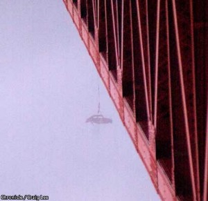 VW hung from the Golden Gate Bridge (2001).